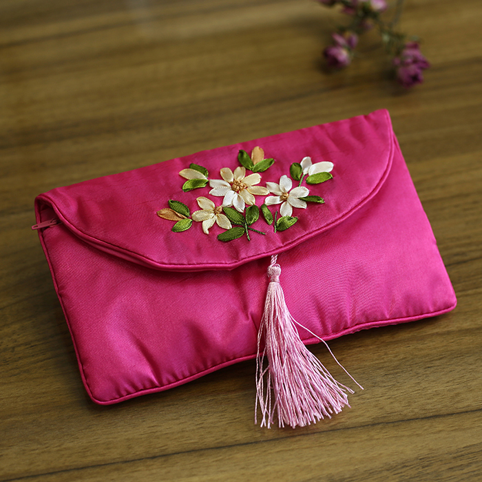 Xiang embroidery zero purse antique embroidery ribbon embroidered small wallet Chinese style multi-functional cosmetic packaging pen bag key bag