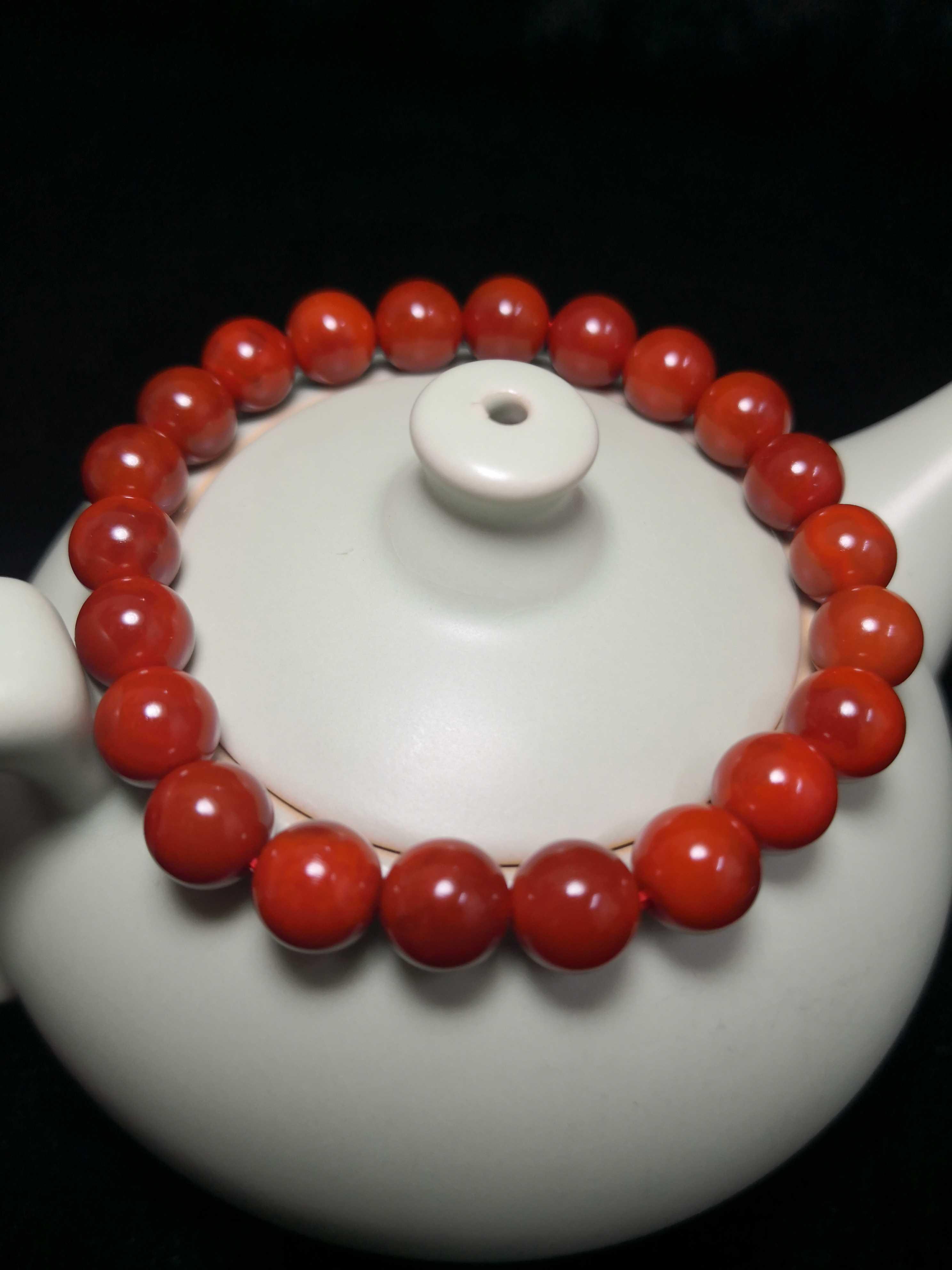 阜新天然玛瑙南红玛瑙单圈手链手串精美饰品年货中国红收藏馈赠