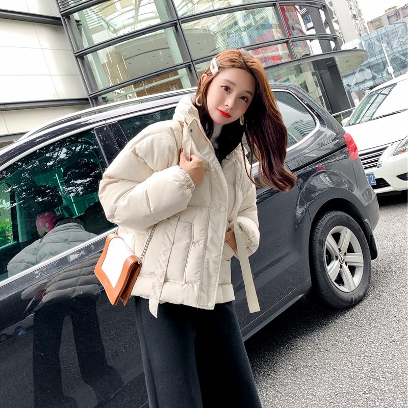实拍2021韩版立领系蝴蝶结柔软大口袋短款加厚纯色面包棉服外套