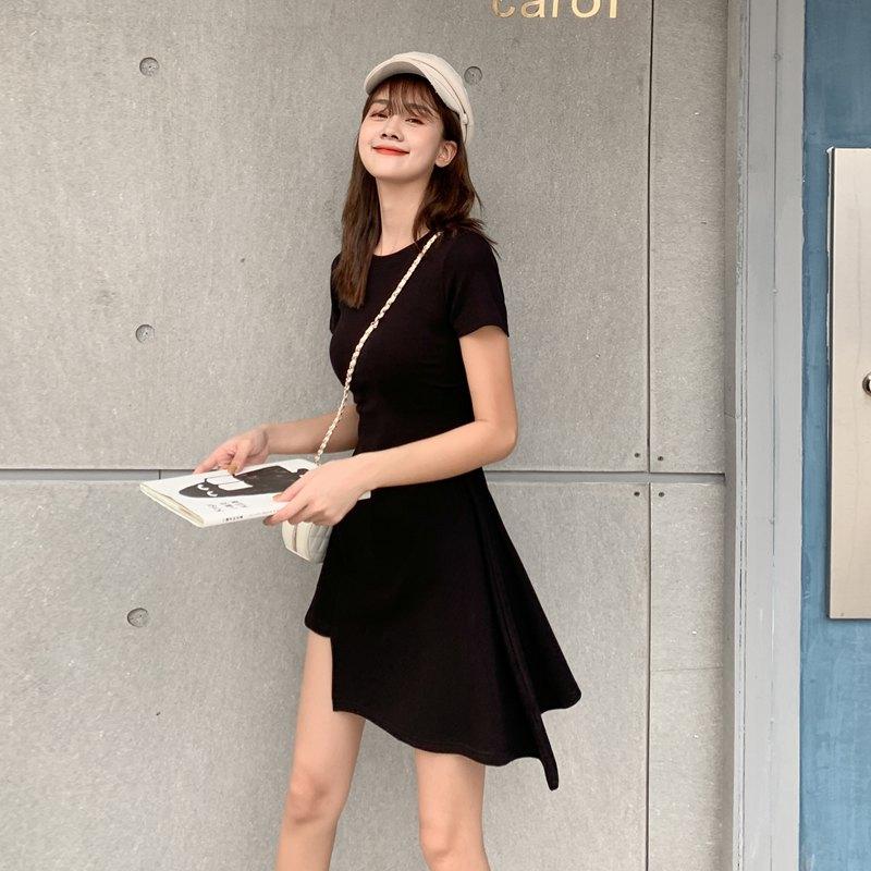 2020夏款现货~实拍~小视频~韩版女装不规则修身收腰连衣裙