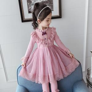 女童秋装连衣裙2021新款儿童加绒洋气蕾丝蓬蓬纱小女孩长袖公主裙