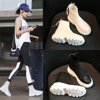 马丁靴子女鞋新款秋季韩版英伦厚底内增短靴潮秋款矮靴