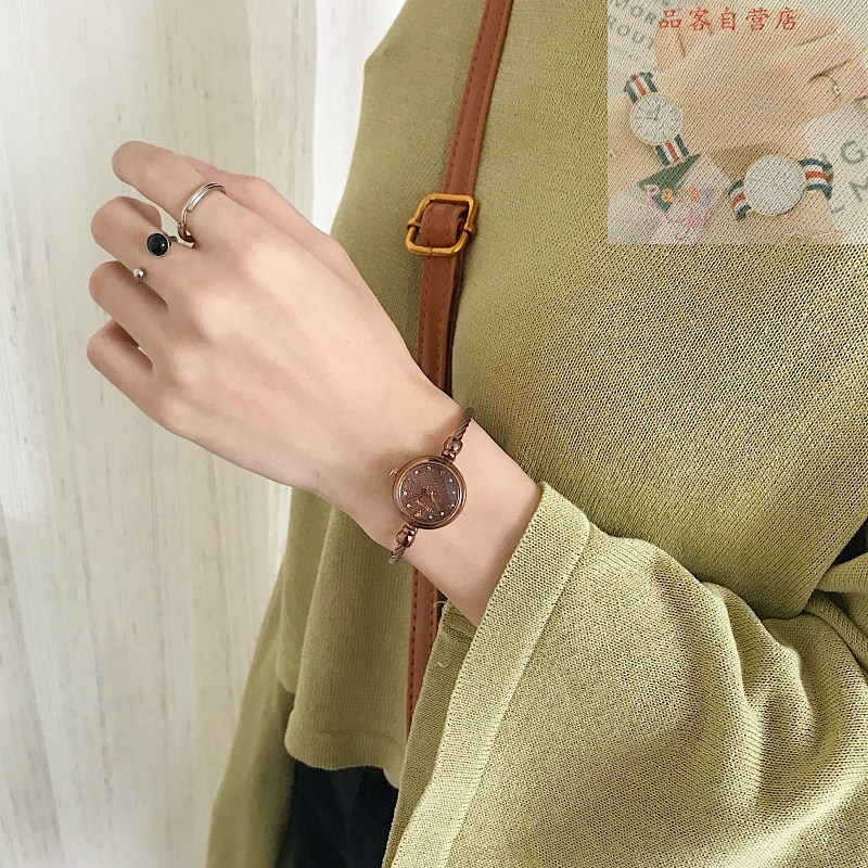 Watch female strap small temperament student simple hand small wind college retro waterproof bracelet type small dial