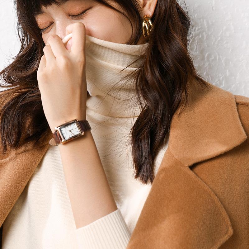 【粉絲專享】修身打底秋冬高領套頭羊毛衫女堆堆領百搭毛衣針織衫