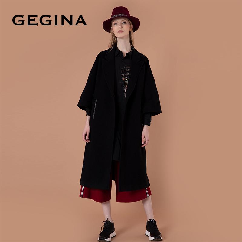 GEGINA羊毛羊绒大衣女士中长款毛呢外套过膝翻领宽松斗篷呢子外套