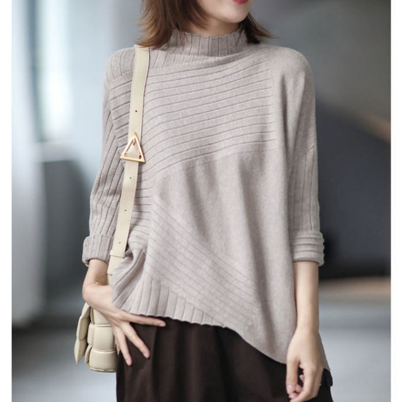 Elegant casual irregular cut half high neck T-shirt sweater womens loose and versatile thick bottomed shirt fall / winter 2020