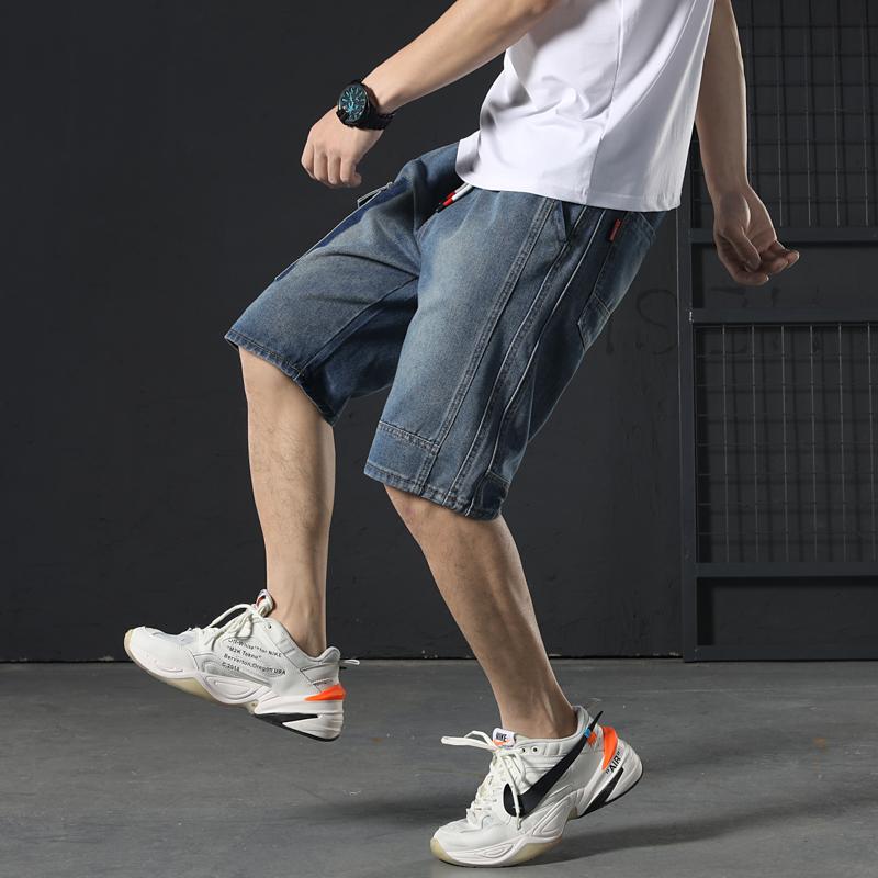 J夏季松紧腰男士宽松大码直筒牛仔5分工装短裤马裤青年中裤D603