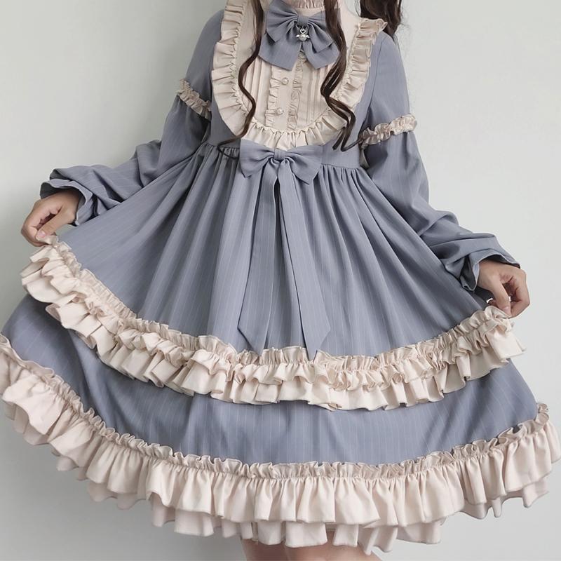 Original authentic Lovely Japanese OP student soft girl dress Vintage Lolita Dress cabbage Lolita Dress