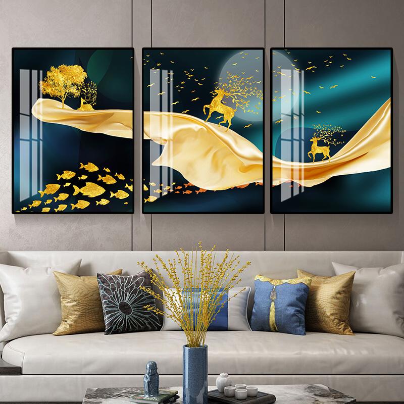 轻奢客厅装饰画北欧三联画现代简约晶瓷画沙发背景墙挂画壁画福禄