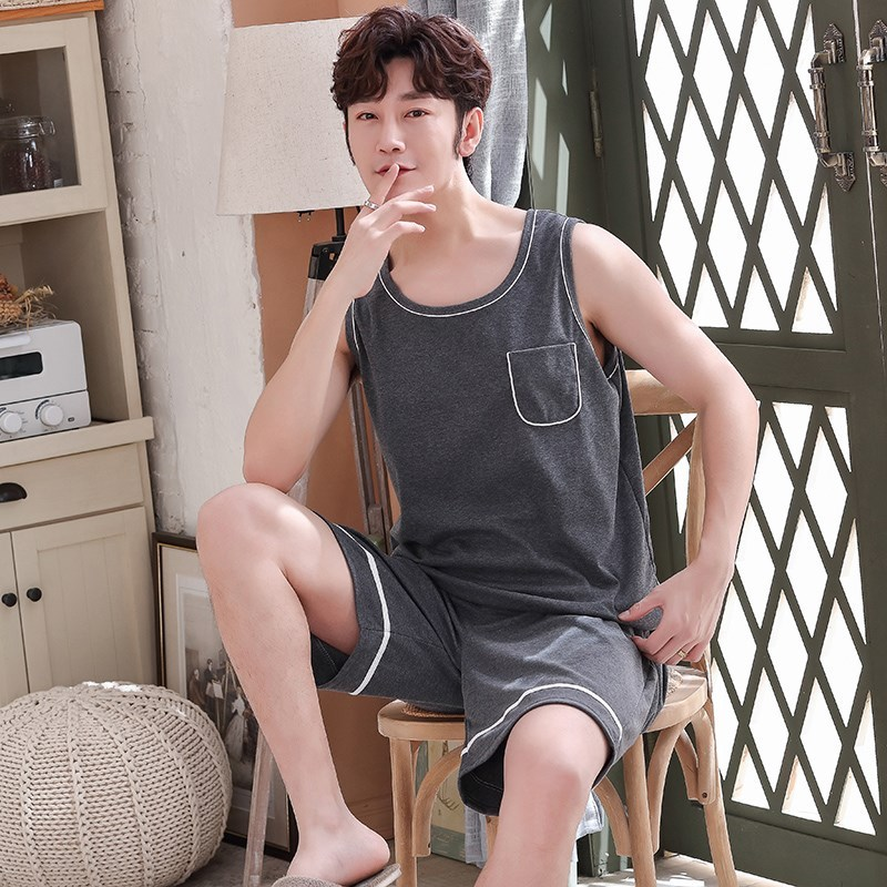 Pajamas mens summer pure cotton sleeveless summer mens youth vest shorts boys all cotton home wear set size