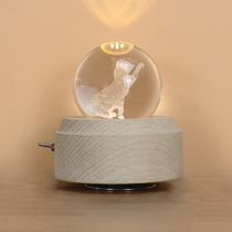 音乐盒木质猫咪八音盒水晶球创意生日儿童礼物送女生闺蜜jeancard