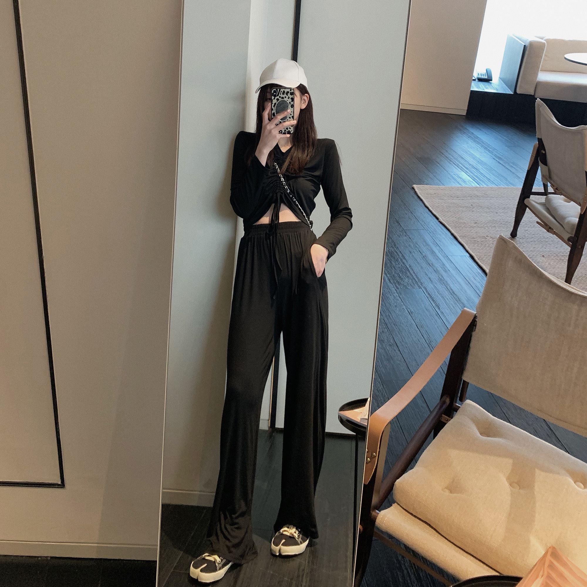 网红女神御姐套装阔腿裤显瘦春季高腰很仙两件套法国小众洋气时尚