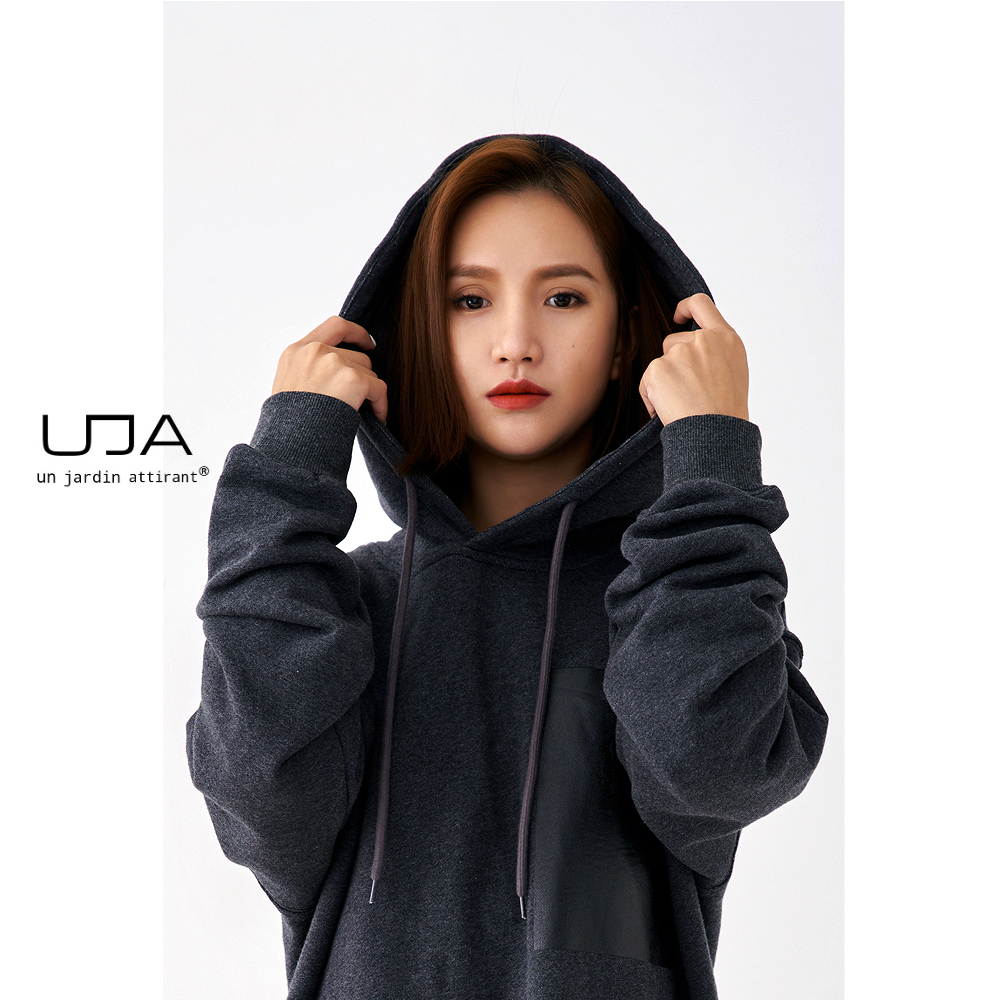 Uja Renaissance European and American high street wind dark grey Embroidery Cotton autumn winter hooded sweater coat men and women high street
