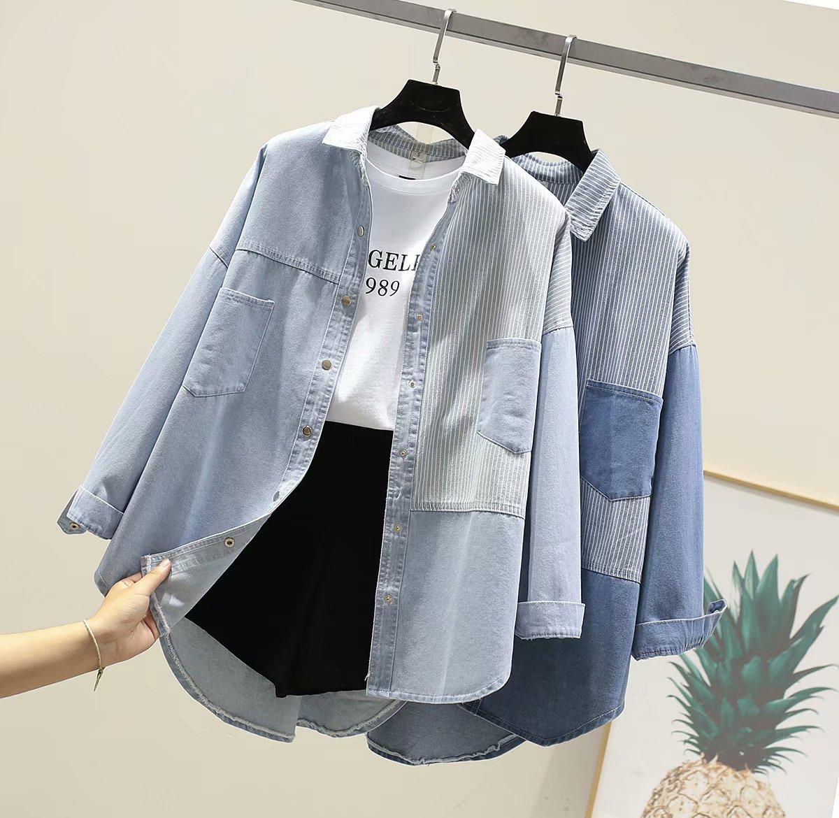 2021春秋新款韩版竖条纹大口袋衬衫
