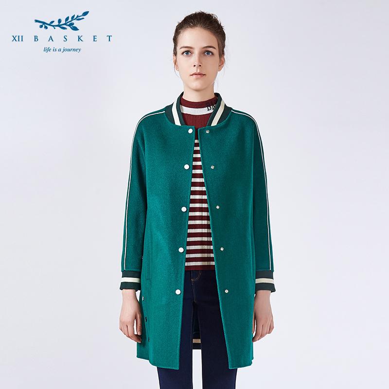 影儿十二篮冬绿色棒球领插肩袖100羊毛中长呢大衣女