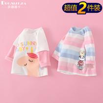 2件装宝宝春秋T恤长袖纯棉可爱洋气男女小童婴儿上衣打底衫外穿幼