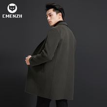 Double faced alpaca wool coat men's medium long men's wool coat without cashmere and Nizi windbreaker in autumn and winter