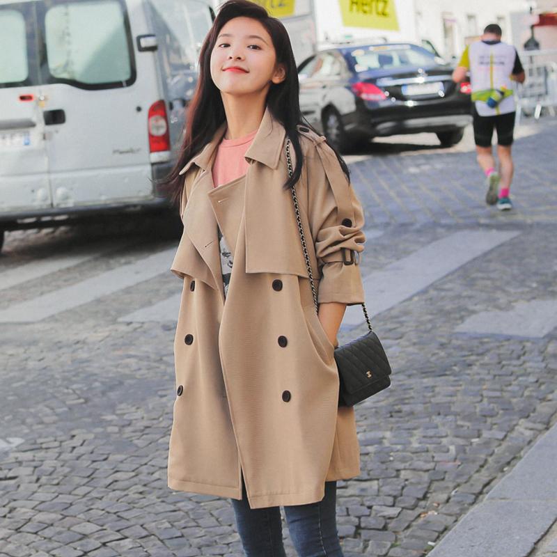 矮个子风衣女短款韩版2020年新款春秋季中款女装中长款宽松小外套