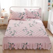 床裙式花边防滑夹棉床罩床裙式三件套保护套床裙罩单件1.5米1.8床