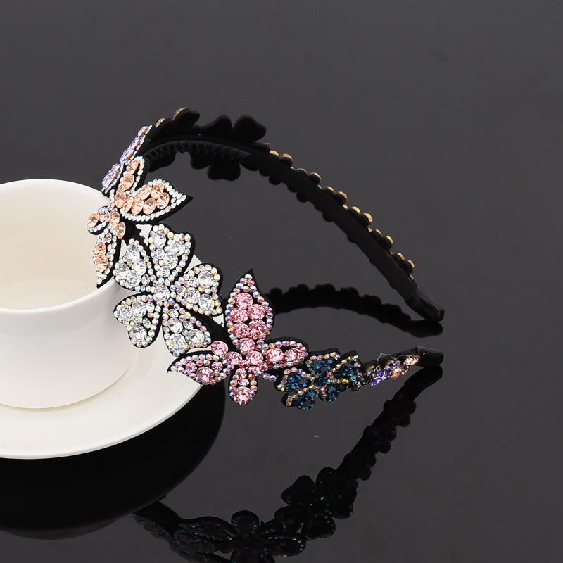 新女成人细边带齿防滑韩国时尚满水钻大蝴蝶花朵新娘发饰发箍头箍