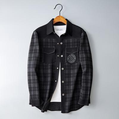 2021秋装 男士针织衬衫外套格子口袋 黑色QT6011-2103-P275控499