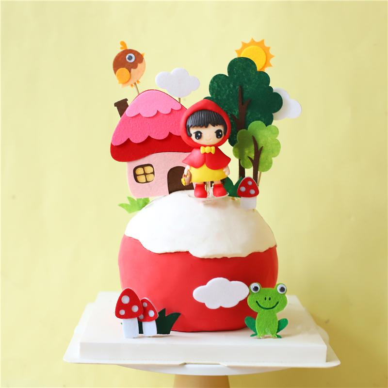 烘焙蛋糕装饰毛毡青蛙小鸟蘑菇房软陶红帽子女孩蛋糕插件小草插牌