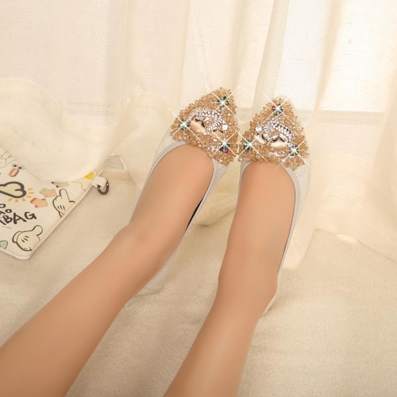 正品女鞋春夏水钻尖头豆豆鞋女平底单鞋软底妈妈女韩版孕妇鞋船鞋