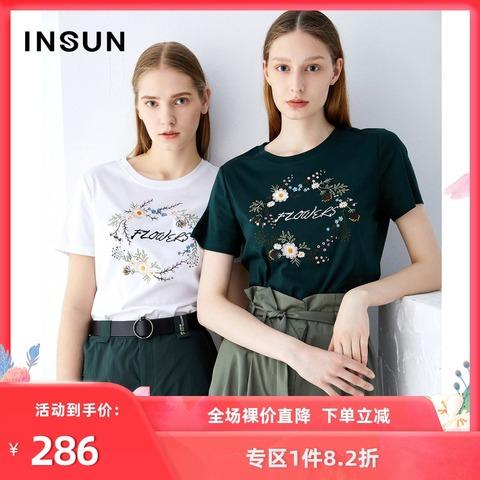 恩裳蔻夏季新款时尚绣花弹力薄款韩版潮流短袖T恤女宽松