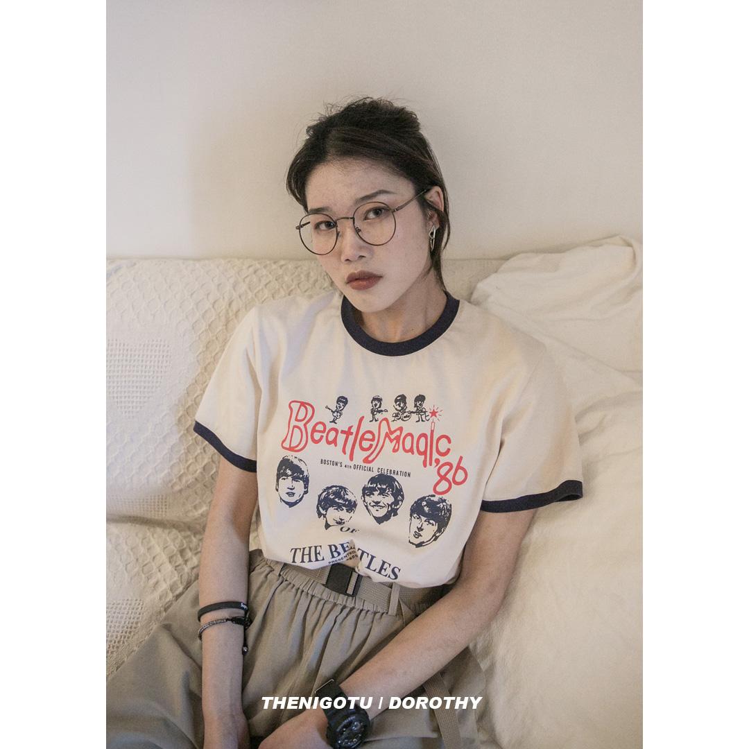 Dorothy丨乐队卡通图案印花短袖女2019新款韩版宽松百搭半袖T恤潮