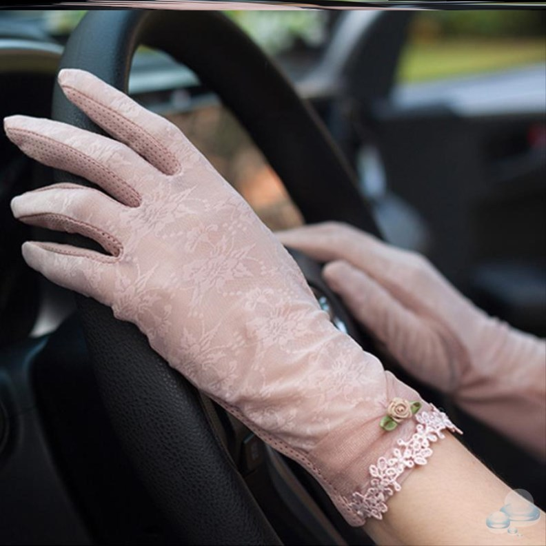 Special driving artifact driving sun protection gloves womens UV protection Lace Sexy outdoor short style with retro fingers