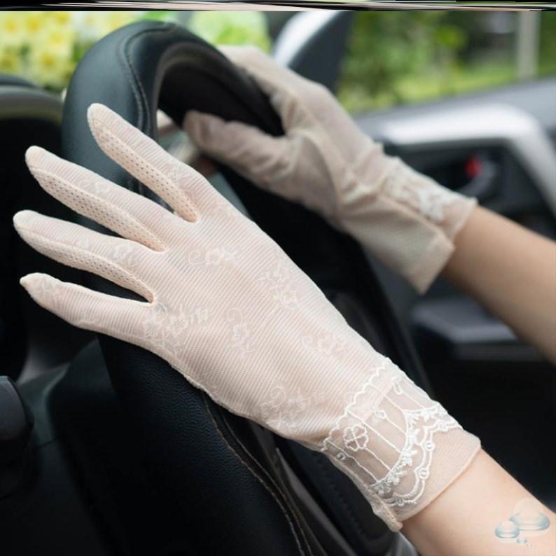 薄款百搭新款练车驾车开车防晒手套女防紫外线夏天冰丝露指连指