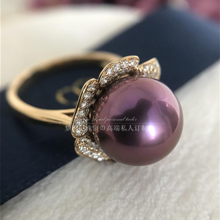 【梦珠记】天然珍珠戒指 紫色爱迪生淡水珍珠浓紫深紫花朵定制