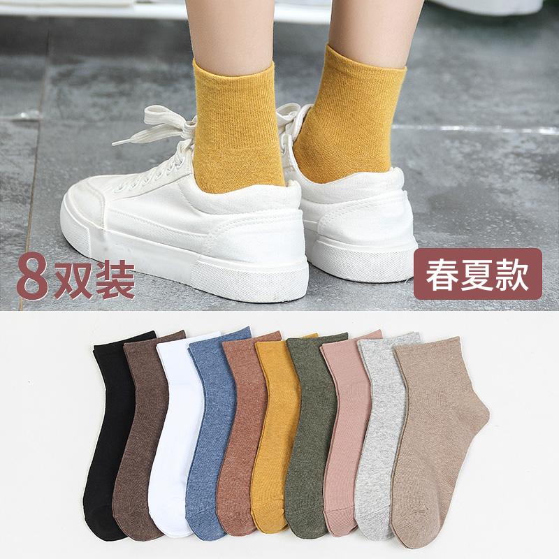 袜子女中筒袜薄款纯夏季棉堆堆袜女薄款春秋款韩国可爱学院风长袜