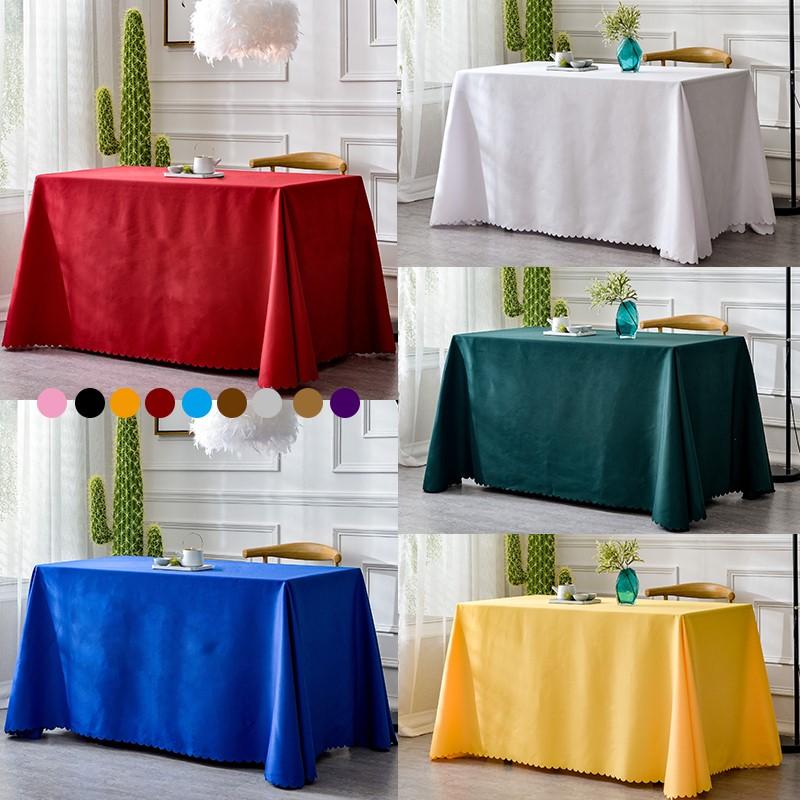 加厚桌布布艺定制地推台布酒店餐厅饭店圆桌布纯色长方形会议桌布