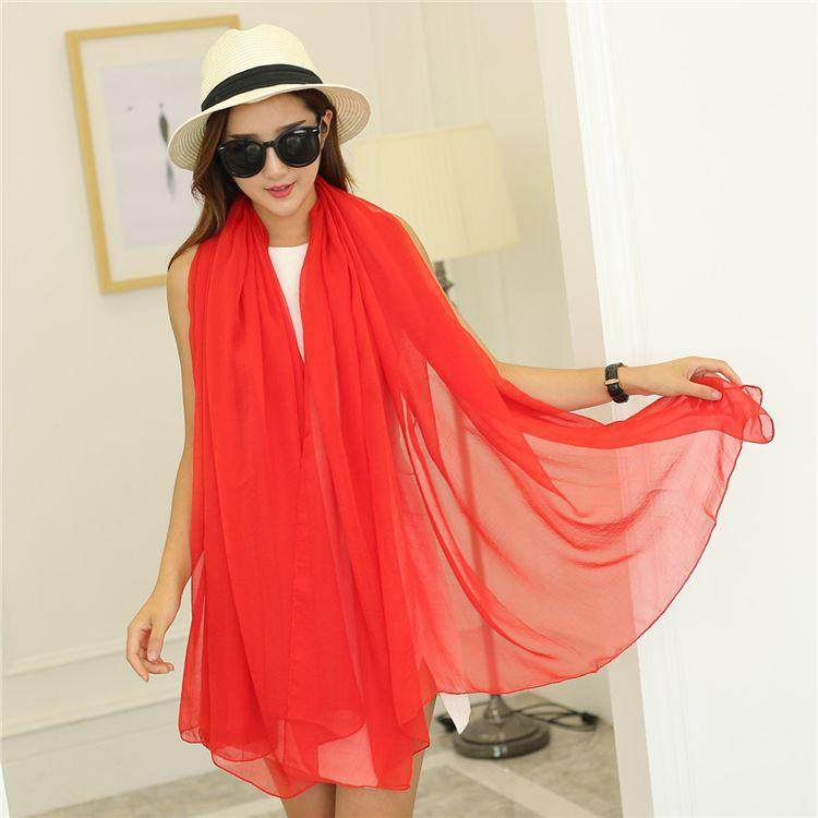 Super long scarf womens scarf silk scarf versatile dual use super long spring and winter thin new scarlet