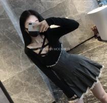 秋装新款胖mm大码显瘦蕾丝打底衫上衣高腰百褶半身裙两件套装裙女