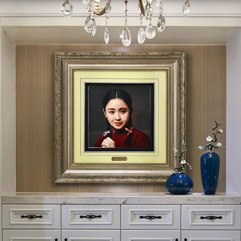 江南绣庄苏绣70x70装饰客厅画手工精品苏州刺绣成品少女