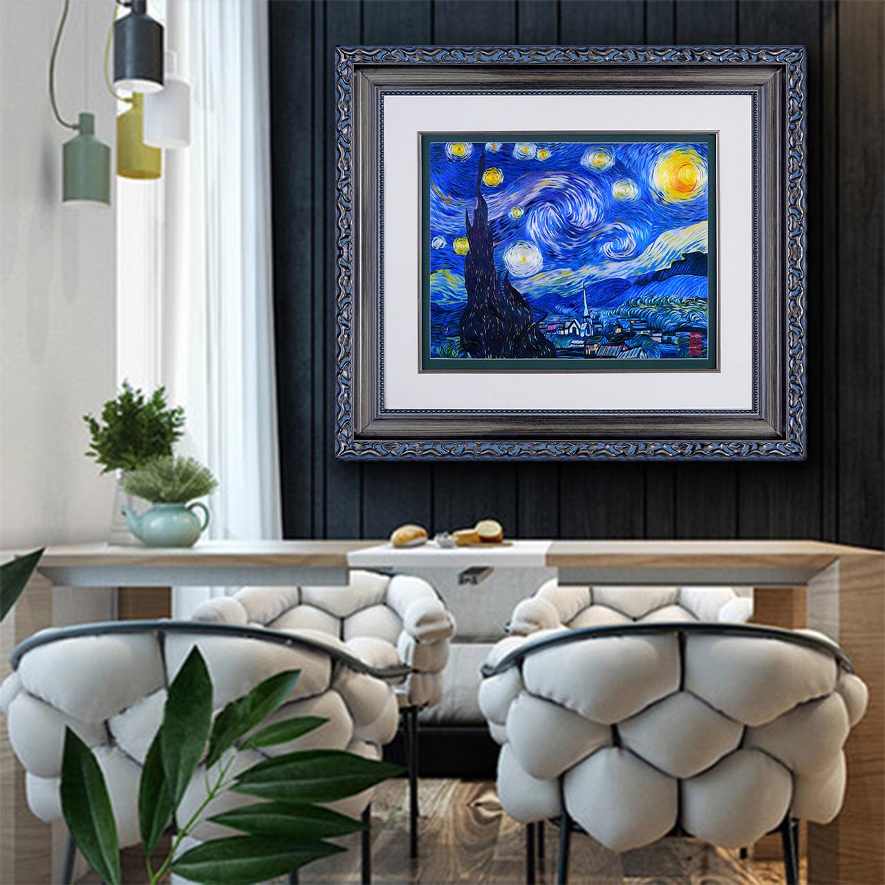 梵高装饰画艺术画挂画餐厅壁画单幅欧式墙画星空油画苏绣刺绣手工