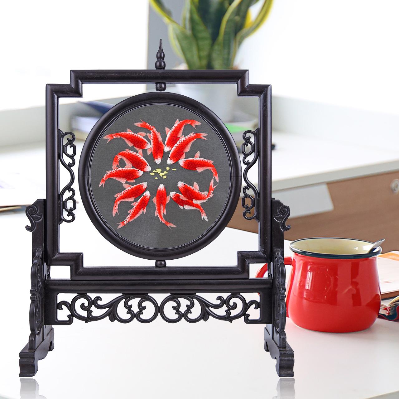 电视柜装饰品摆件客厅桌子摆设小饰品创意办公室工艺品苏绣双面绣