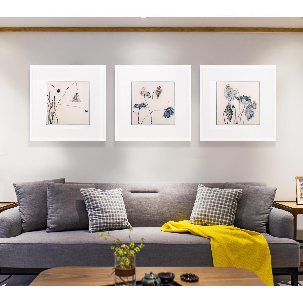 江南绣庄客厅沙发背景墙装饰画墙壁挂画简约现代新中式三联装饰画