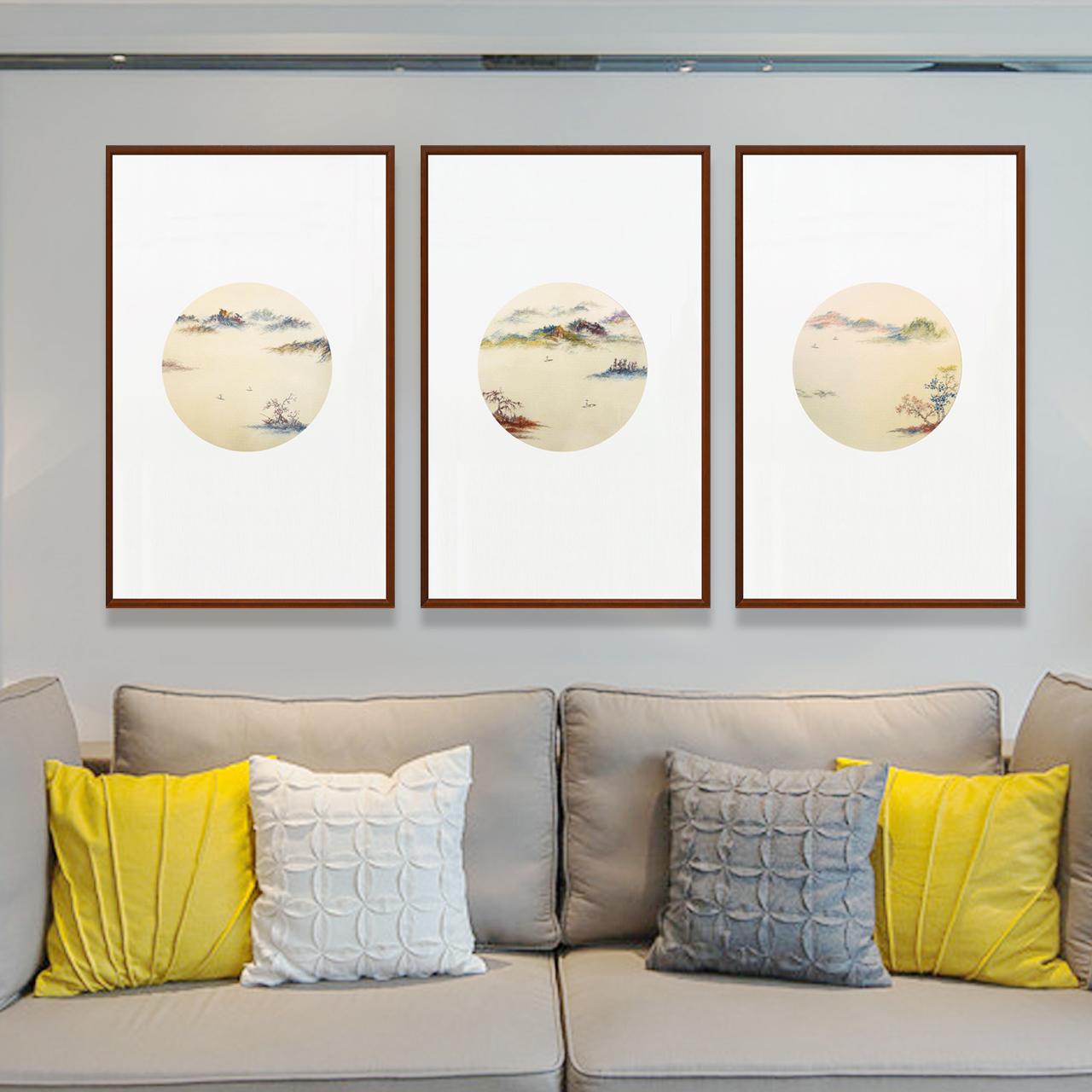 玄关装饰画走廊竖版过道现代简约新中式山水挂画书房壁画墙画三联