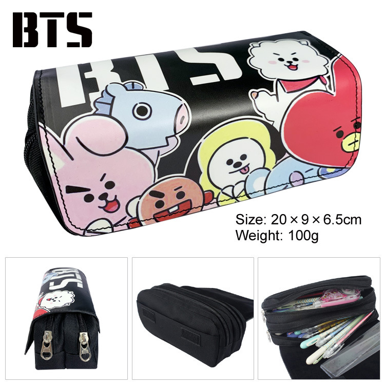Bulletproof youth group canvas student double zipper large capacity men and women stationery box pencil bag wallet stationery