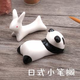 創意動物筆擱水彩筆筆架個性筆架陶瓷可愛小貓筆擱圖片