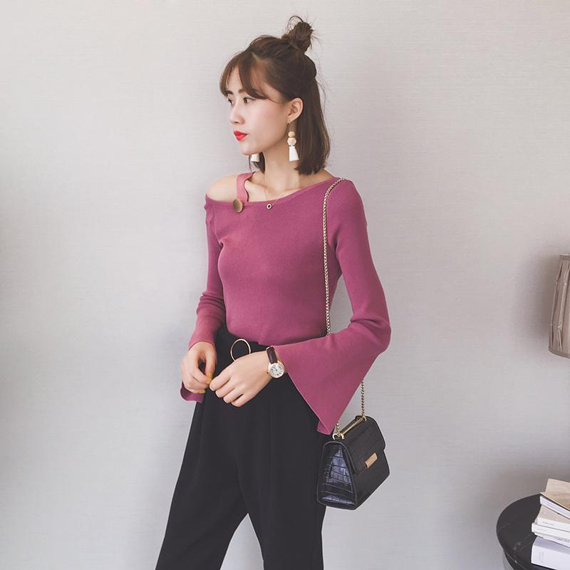 Осень тонкий новых женщин одно плечо плечо труба рукав вязать сплошной цвет с длинным рукавом рубашки + I212