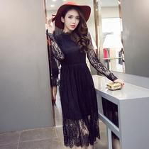 蕾丝连衣裙2019秋夏季新款韩版大码女装修身高腰长袖打底中长裙