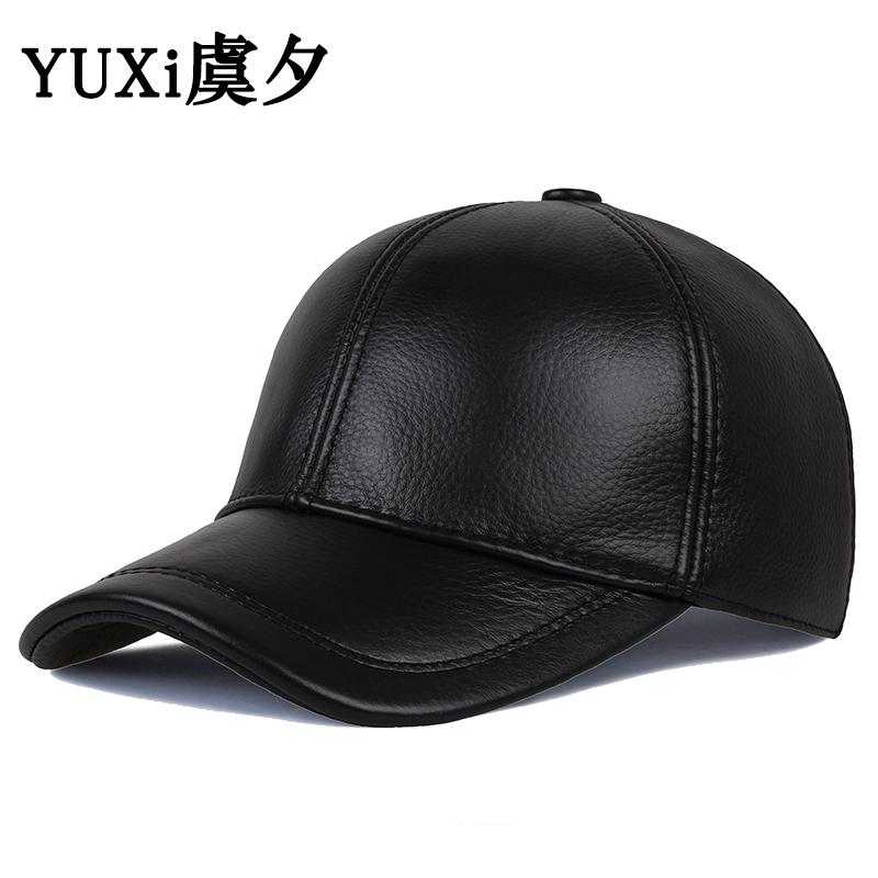 秋冬季男士户外休闲棒球帽真皮帽子11-02新券