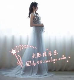 688大气孕妇照摄影写真服装出租赁影楼拍时尚妈咪大肚照手工钉珠