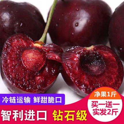 智利进口黑珍珠智利车厘子1斤买一送一甜脆大樱桃新鲜水果包邮购