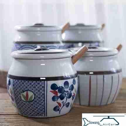 和风四季大号盐罐油辣子熟油罐陶瓷调味罐日式釉下彩调料罐瓶家用