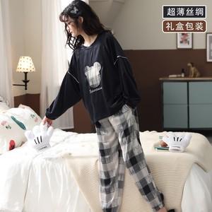 2021年新款春秋冰丝绸长袖女睡衣
